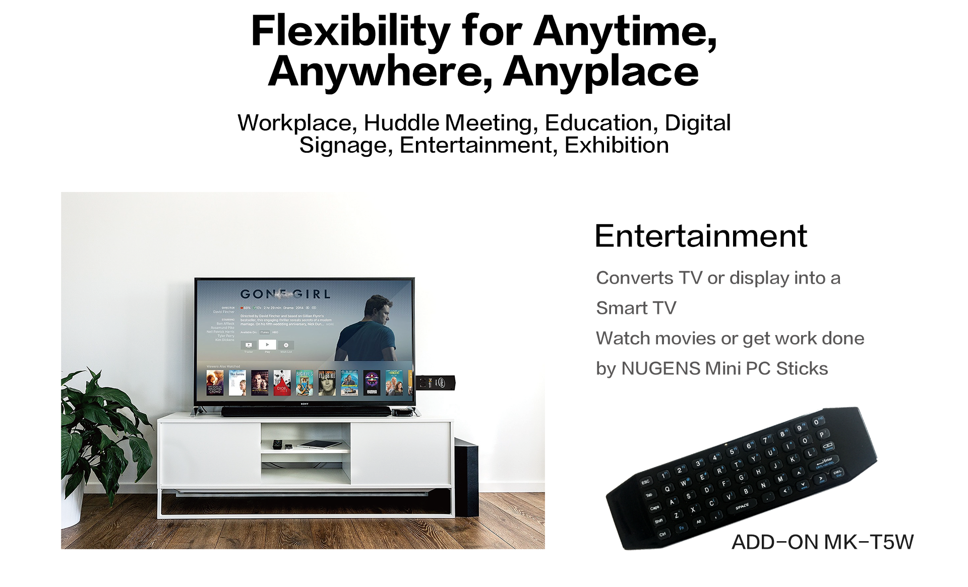 Converts TV or display into a Smart TV Watch movies or get work done by NUGENS Mini PC Sticks