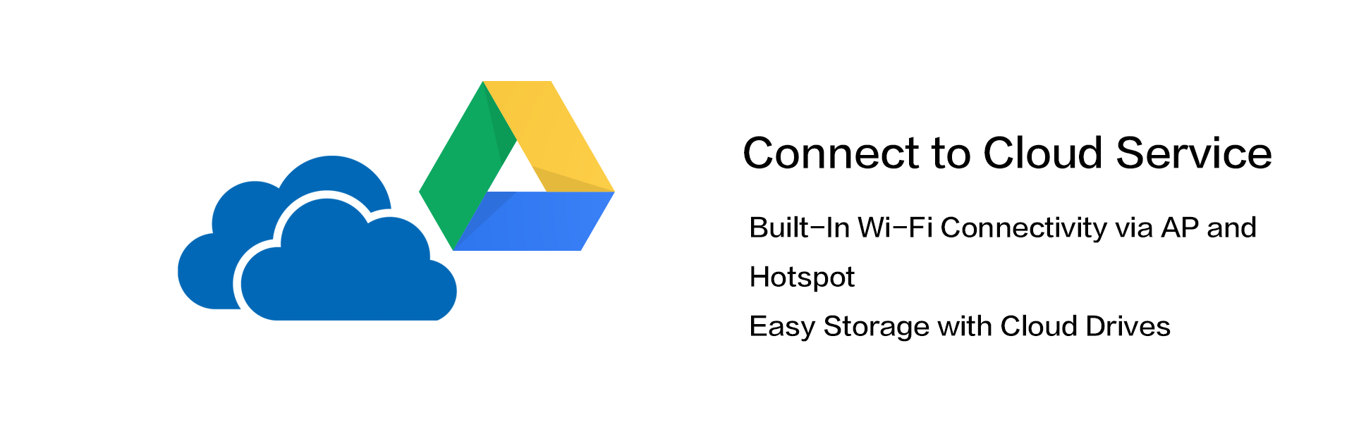 Built-In Wi-Fi Connectivity via AP and Hotspot,Easy Storage with Cloud Drives