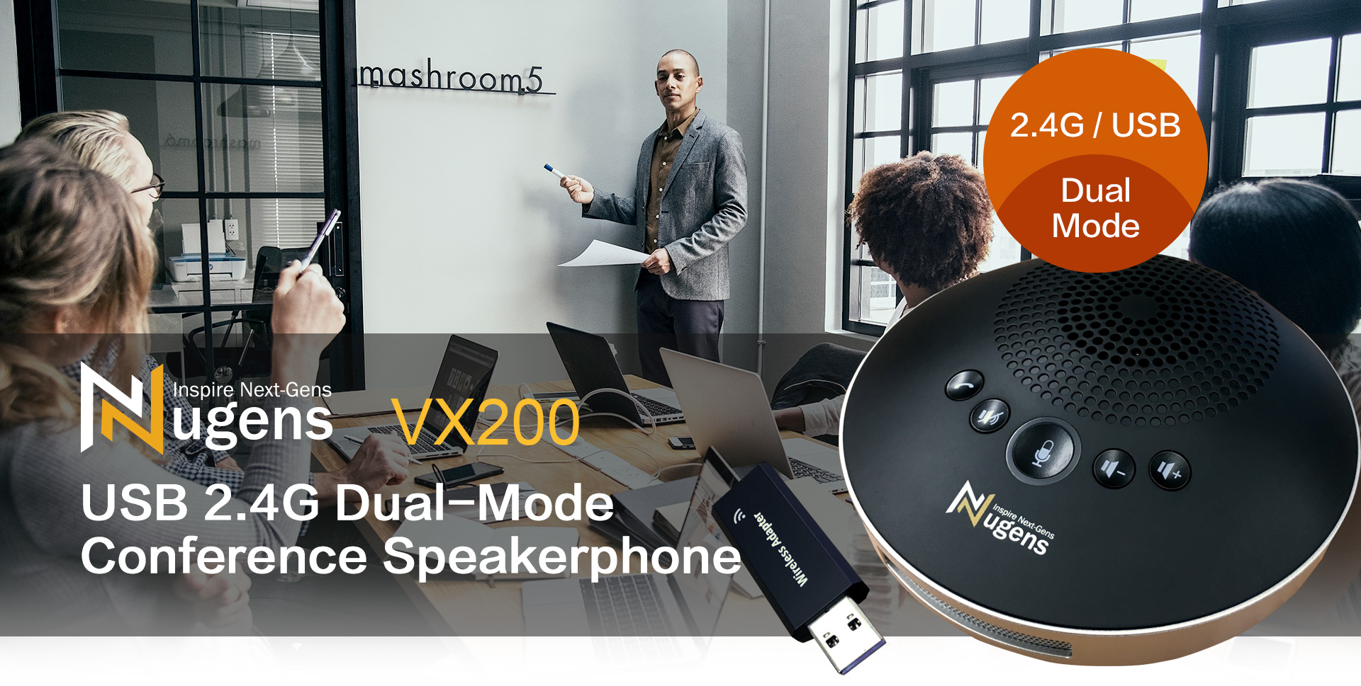USB 2.4G Dual-Mode Conference Speakerphone